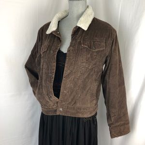 Gap Sherpa-Lined brown Cord Jacket Size Hol '07